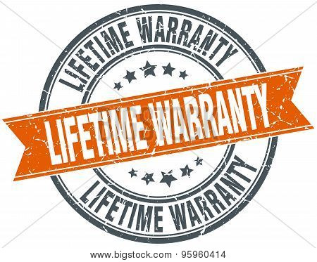 Lifetime Warranty Round Orange Grungy Vintage Isolated Stamp