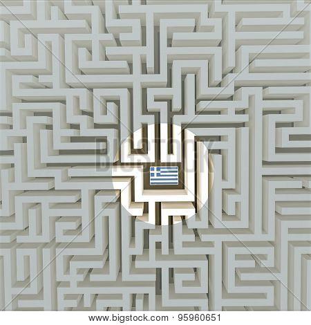 Greek Flag In A Maze