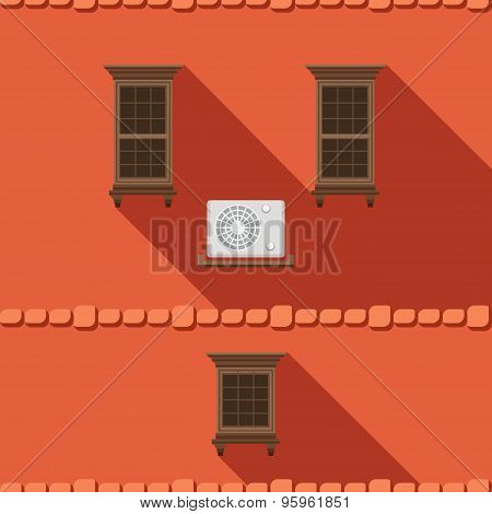 Illustration With A Vintage Window And Air-conditioner On The Brick Wall
