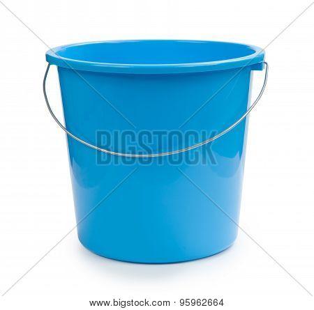 Blue Bucket Plastic Isolated On White