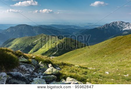 Summer Mountains Under Blue Sky With Clouds