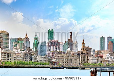Beautiful View Of Shanghai -  Bund Or Waitan Waterfront. China.