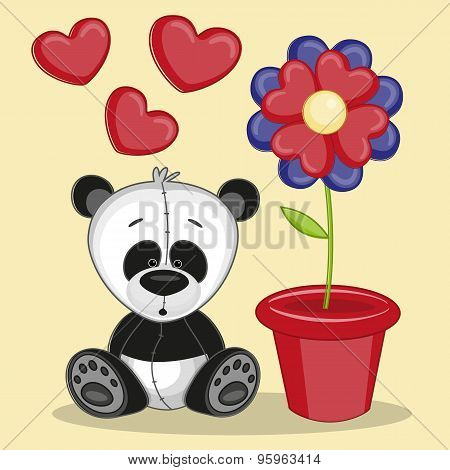 Panda With Flower