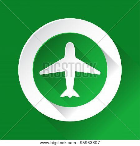 Green Circle Shiny Icon - Airplane