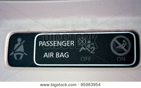Closeup Look Of Passenger Instruction In The Car