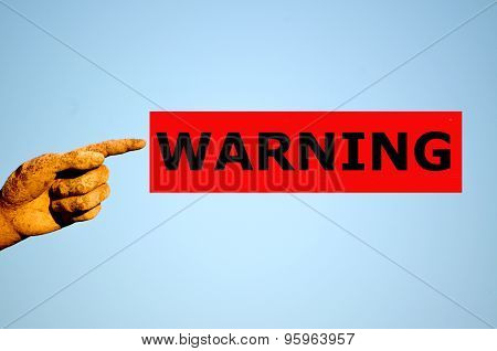 Finger With Rectangular Red Label Warning