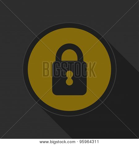 Dark Gray And Yellow Icon - Closed Padlock