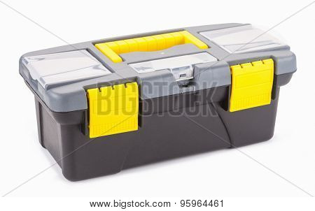 Plastic Box With Tools Isolated On White Background