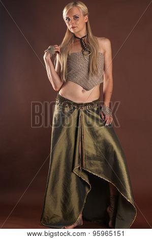 fashionable woman in a beautiful dress