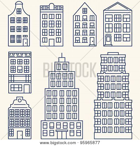 Vector Set Of Linear Elements And Icons With Buildings And Skyscrapers For Construction Map, Design