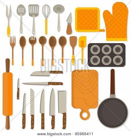 Flat design set of kitchenware isolated on white background.
