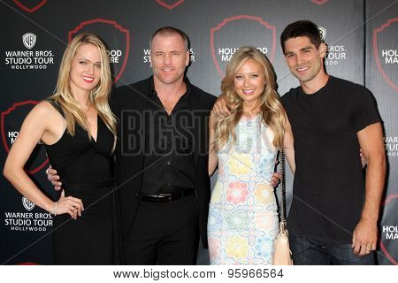 LOS ANGELES - JUL 14:  Suzanne Quast, Sean Carrigan, Melissa Ordway, Justin Gaston at the Warner Bros. Studio Tour Event at the Warner Brothers Studio on July 14, 2015 in Burbank, CA