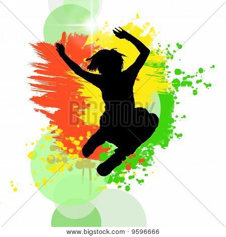 Jumping silhouette on   painting background
