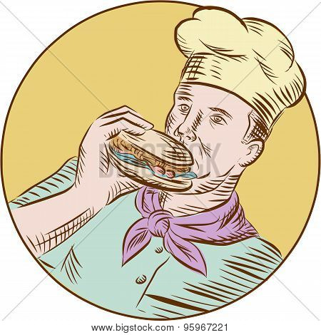 Chef Cook Eating Burger Etching