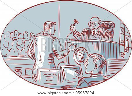 Judge Defendant Courtroom Etching