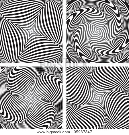 Torsion movement illusion. Op art designs set. Abstract vector illustrations.