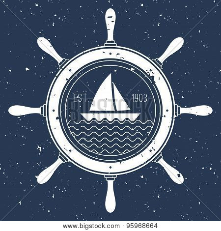 Nautical Logo With A Sail Boat Inside Steering Wheel