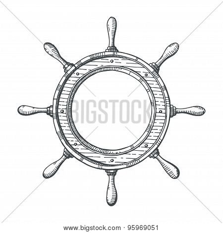 Hand Drawn Illustration Of A Steering Wheel