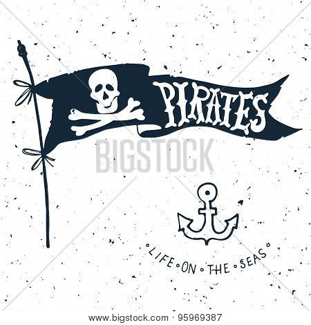 Jolly Roger. Hand Drawn Illustration Of Skull With Swords.