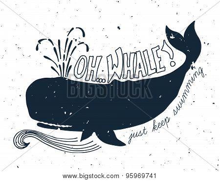 Hand Drawn Grunge Illustration Of Whale