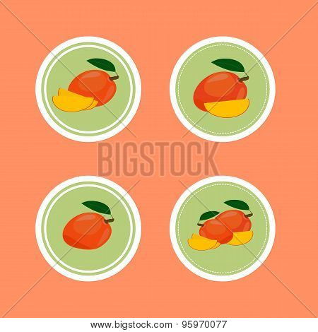 Design Stickers with Ripe Yummy Mango.