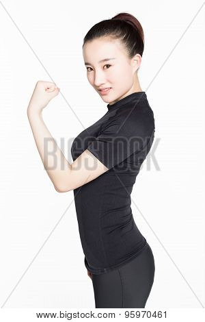 Strong Woman Showing Off Muscles.