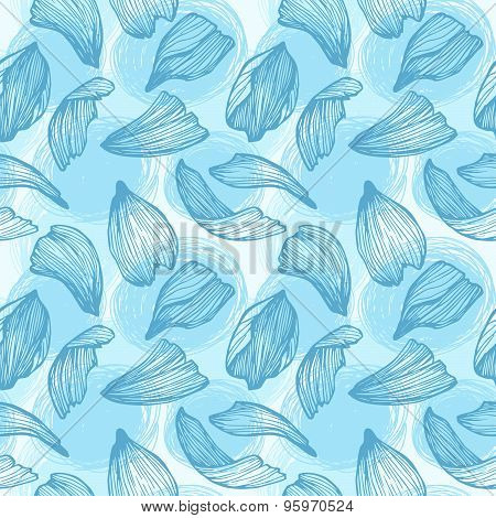 Hand Drawn Vector Seamless Pattern - Rose Petals. Blue Background