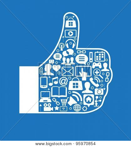 Design Like icons and social media icons. White icons on blue background