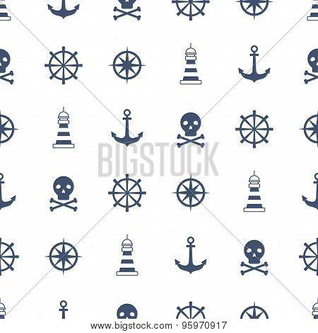 Seamless Pattern With Nautical Symbols