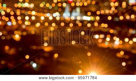Abstract Circular Bokeh Background, City Lights In The Twilight With Streetlight, Panorama