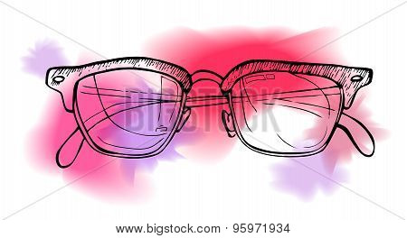 Hand Drawn Vector Illustration - Sunglasses. Line Art And Watercolor