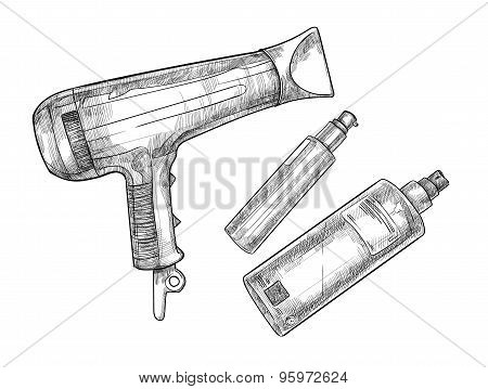 Hand-drawn Vector Illustration - Hairdresser Tools (barber Tools)