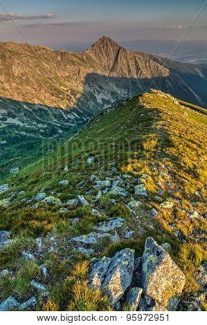 Beautiful Evening On Ridge Of The Summer Mountains