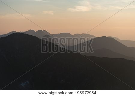 Mountain Scenery At Sunset