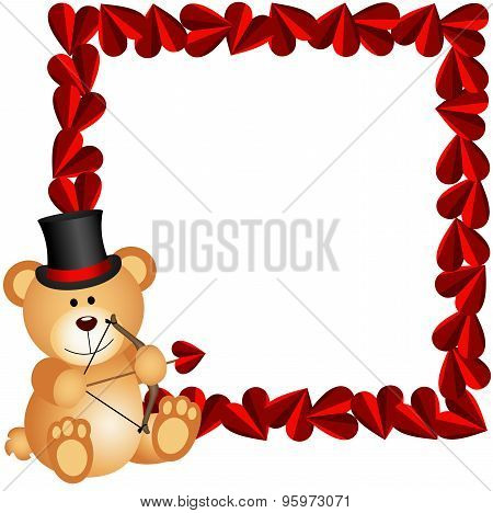 Cupid teddy bear with heart frame