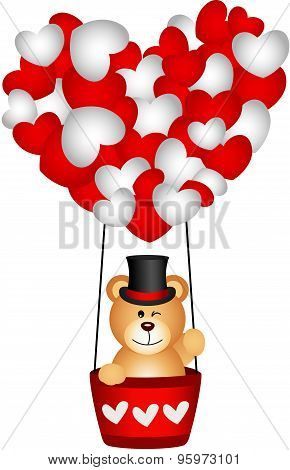 Valentine teddy bear in a heart hot air balloon