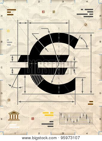 Euro Sign As Technical Blueprint Drawing
