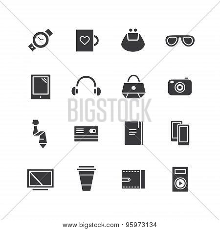 Mobile objects vector icons set. Mobile, electric and technic symbols. Stocks design elements