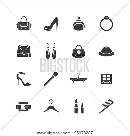 Web store vector icons set. Shopping symbols. Interface elements Stock illustration