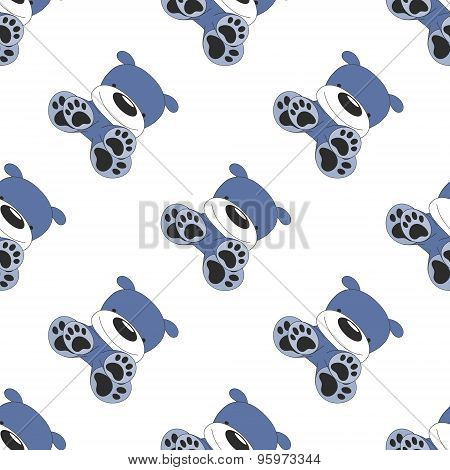 Seamless Diagonal Dog Pattern On White
