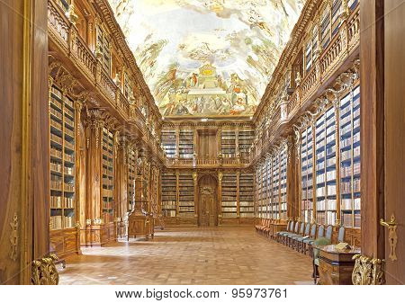Library in Strahov monastery in Prague