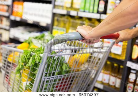 Man pusching his trolley on aisle at supermarket