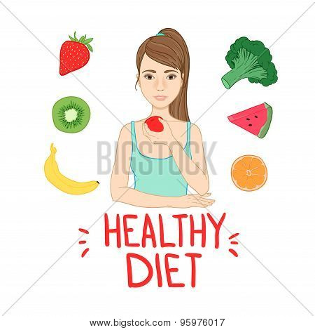 Hand Drawn Vector Illustration -  Healthy Diet. Fruits And Vegetables. Woman Surrounded By Fruit