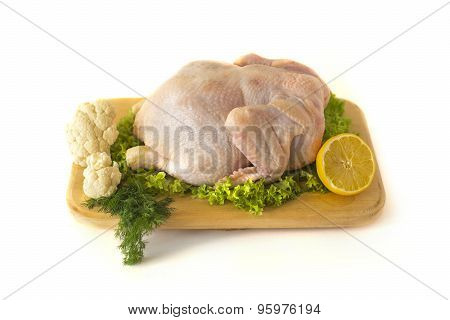 Raw chicken. Isolated on white.
