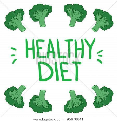 Hand Drawn Vector Illustration. Template To Create A Design With Broccoli. Healthy Diet