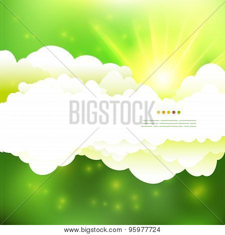 Summer Green Colors Cloudy Sky With Sun Illustration