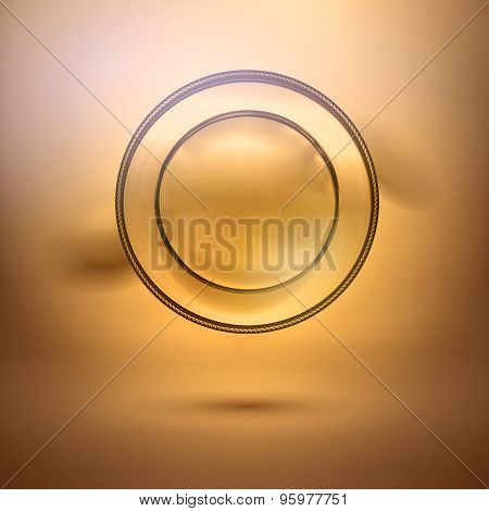Abstract Metal Luxury Plate At Bronze Background
