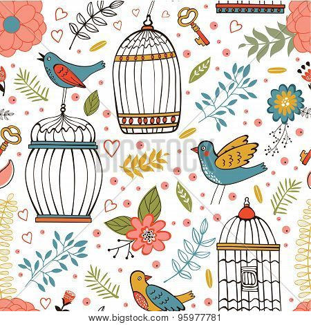 Elegant pattern with flowers, bird cages and birds