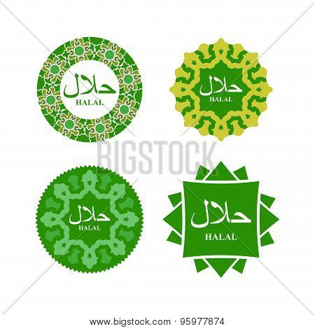Logo Of Halal Products. Text Of In Arabic