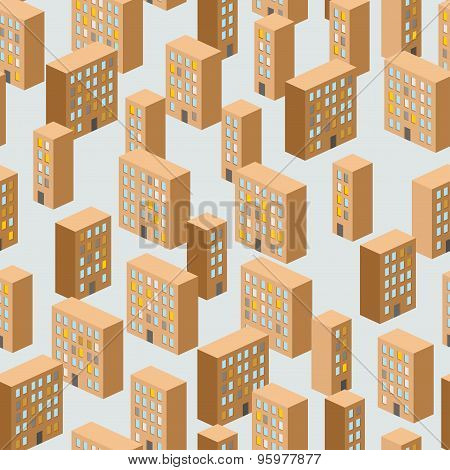 Building Seamless Pattern. Vector Background Of The City. Ghetto. New Sleeping Area.